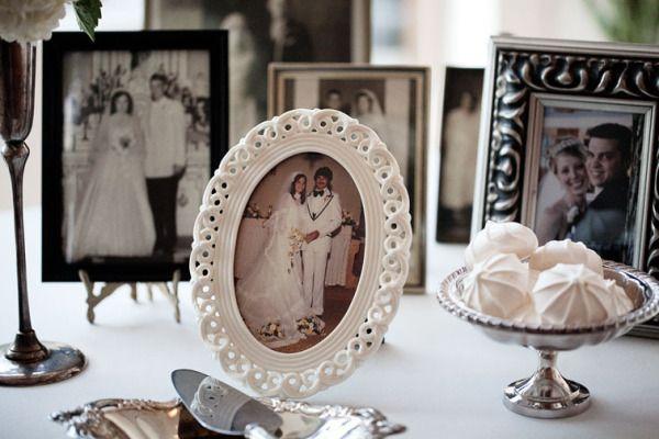 Family wedding photos on display.