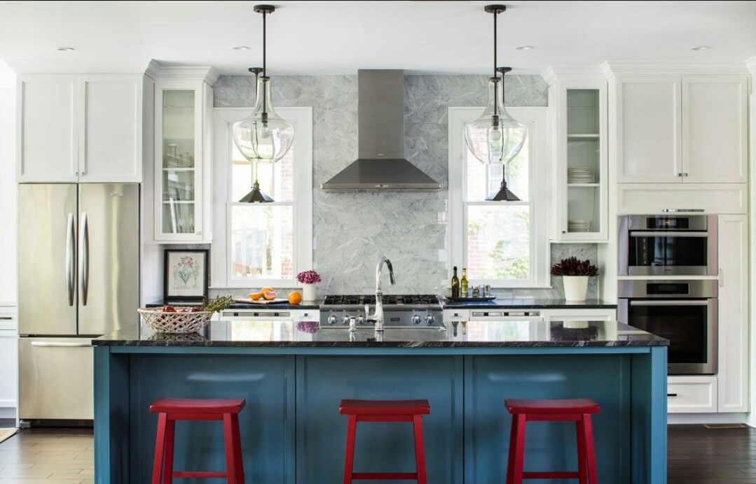 Red And Blue Kitchen   Houzz.com
