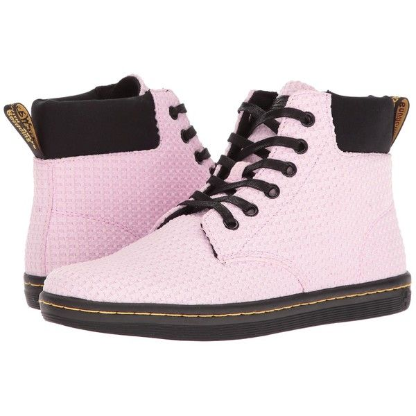 Dr. Martens Maelly WC (Bubble Gum/Black Waffle Cotton/Fine Canvas)... ($80) ❤ liked on Polyvore featuring shoes, dr. martens, black canvas shoes, black lace up shoes, black slip resistant shoes and laced shoes