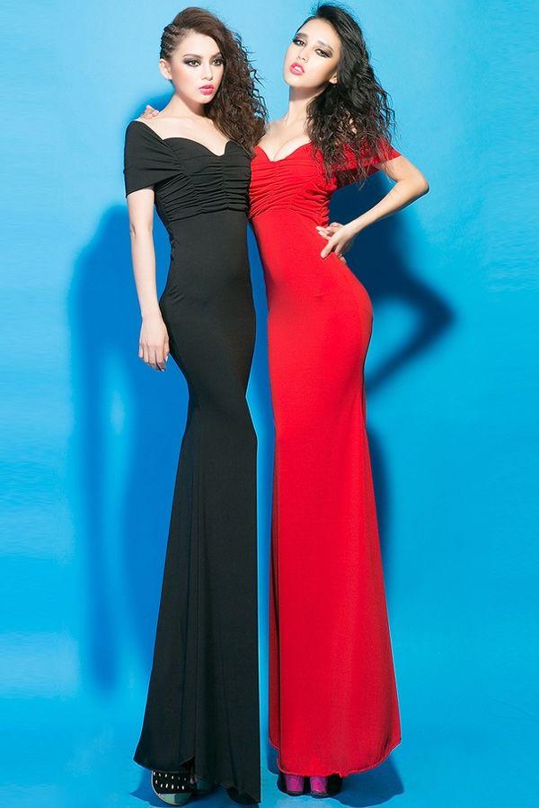 Pleated Off-the-shoulder Dress - OASAP.com