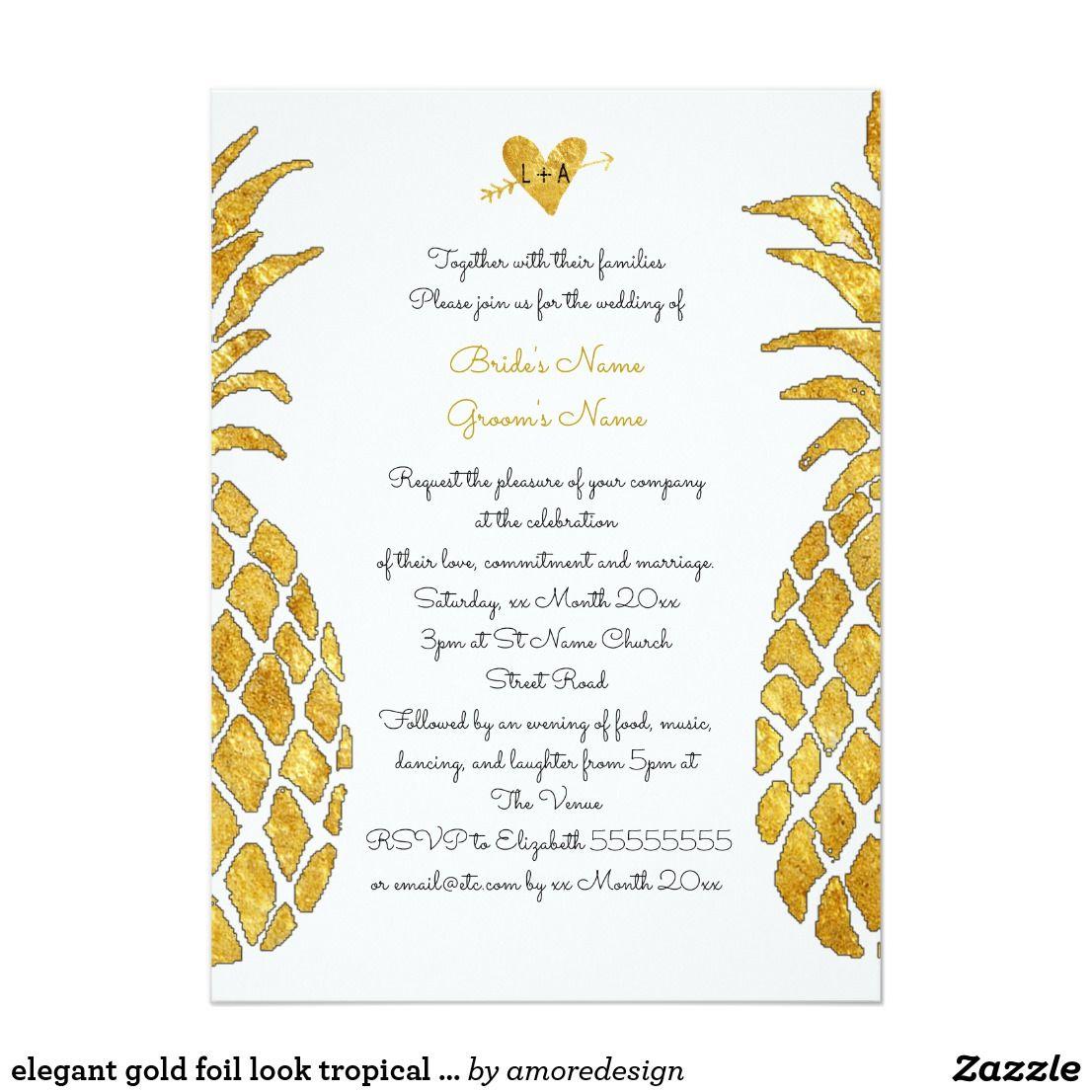 elegant gold foil look tropical summer wedding