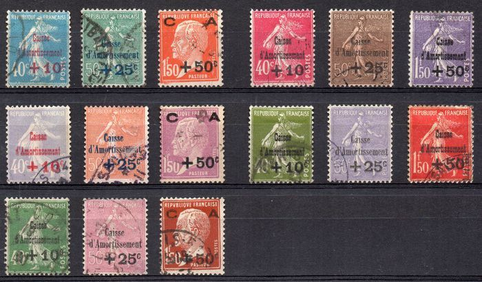 France 1927/1931 - Caisse d'Amortissement - Yvert No. 246/248, 249/251, 253/255, 266/268 and 275/277