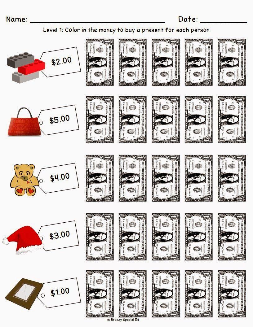 Christmas Holiday Shopping Worksheets For Free Money Worksheets Money Math Life Skills Classroom [ 1056 x 816 Pixel ]