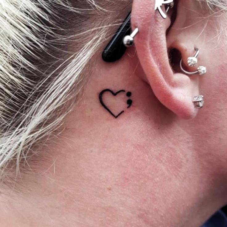 Behind The Ear Tattoo Ideas Behind Tattoo Ideas Hinter Dem Ohr Tattoo Ideen Derriere Les Ide In 2020 Semicolon Tattoo Behind Ear Tattoos Behind Ear Tattoo Small