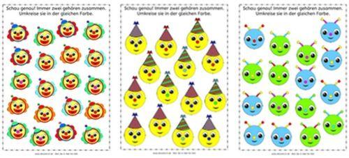 clowns partyh te und aliens visuelle wahrnehmung aufmerksamkeit arbeitsblatt legasthenie. Black Bedroom Furniture Sets. Home Design Ideas