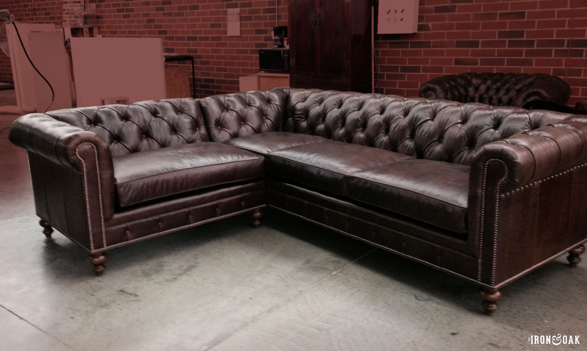 Custom Brown Leather Chesterfield Sectional Sofa Sectional