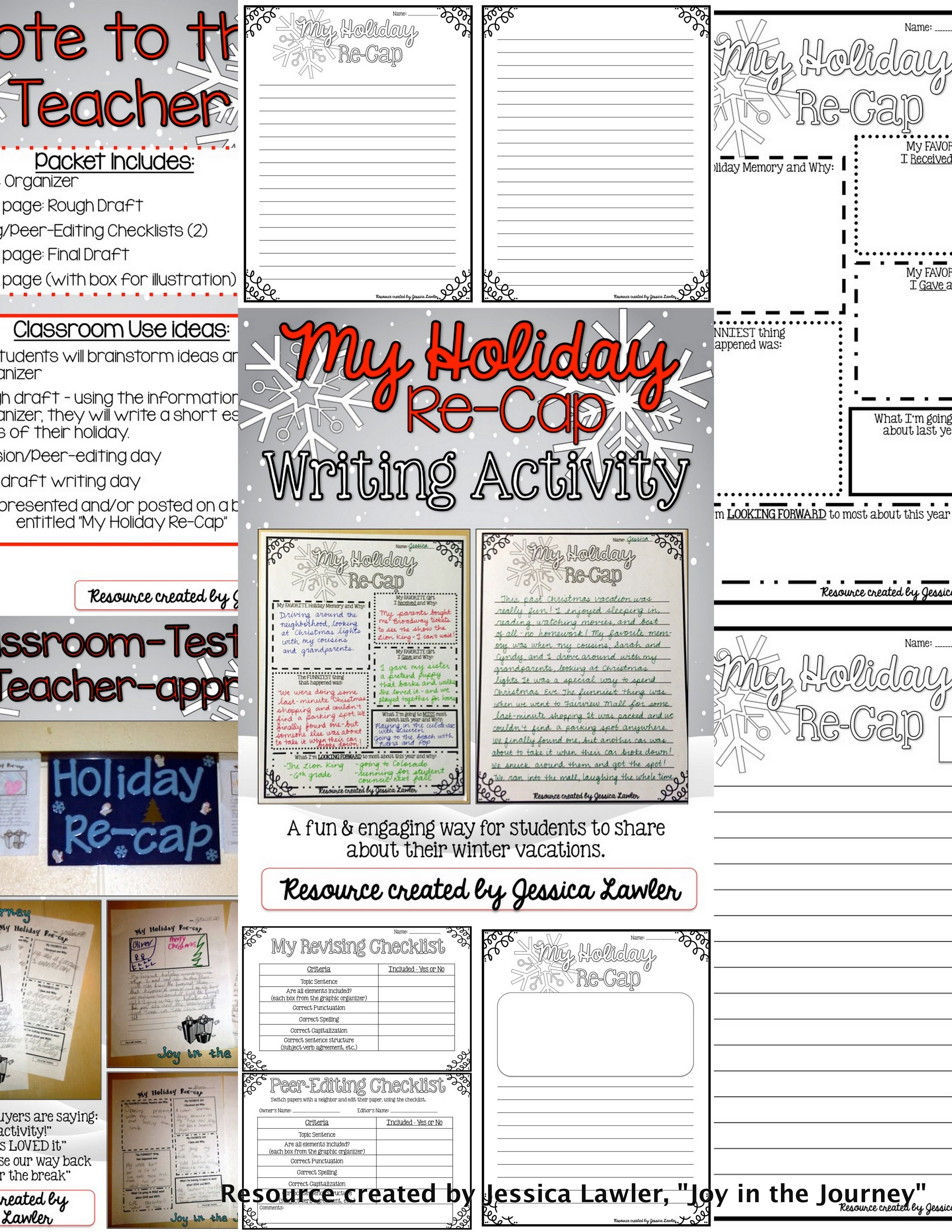 Holiday Re Cap Writing Activity Common Core Aligned