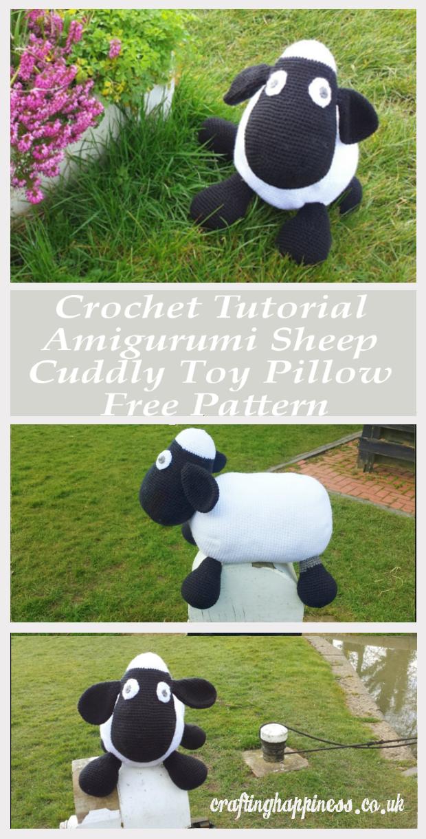 a2deeb2aa28b Crochet Tutorial Amigurumi Sheep Cuddly Toy Pillow Free Pattern ...