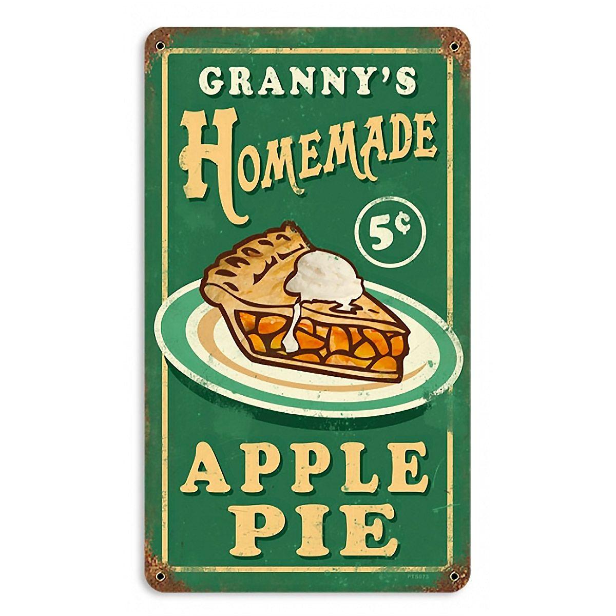 Grannys Homemade Apple Pie Metal Bakery Sign