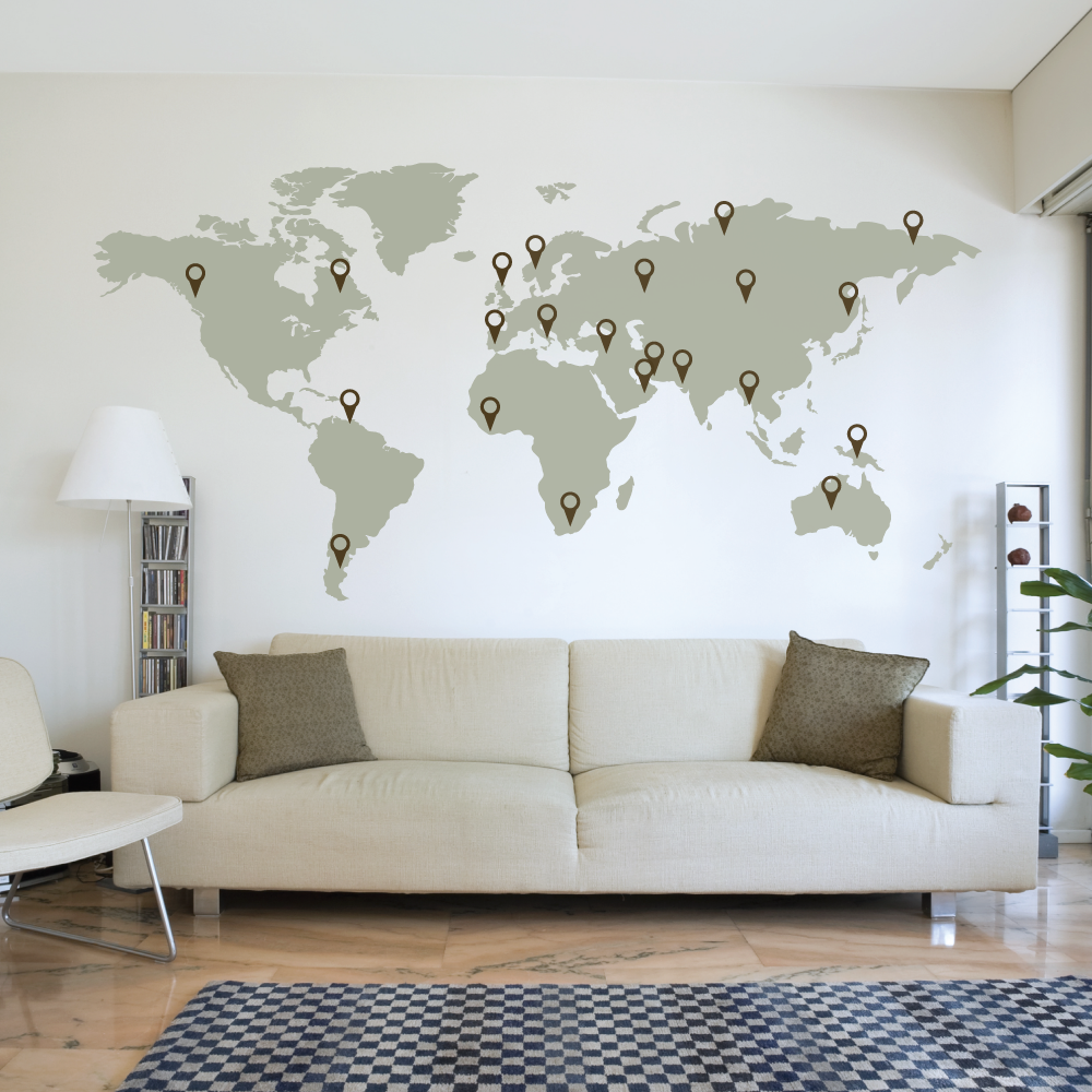 Innenarchitektur Weltkarte Wand Ideen Von World-map-wall-decal_1024x1024 Aufkleber, Wandschmuck, Wand,