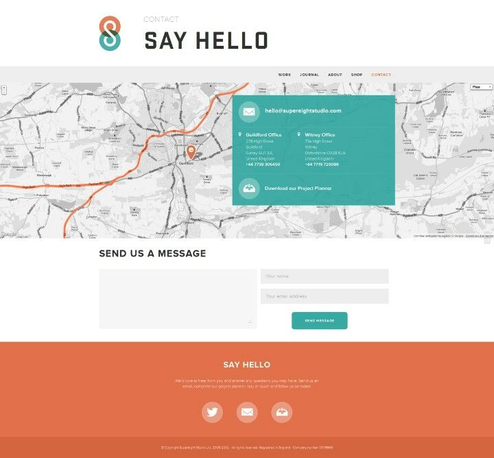 Simple Contact Page With Map Details And Form  Clean Promo Sites