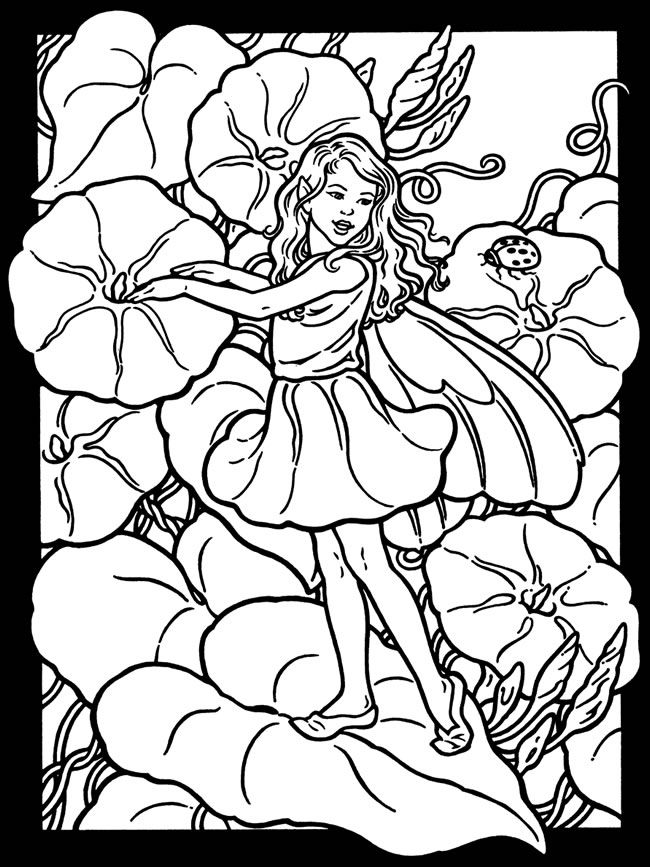 Garden Fairies Stained Glass Coloring