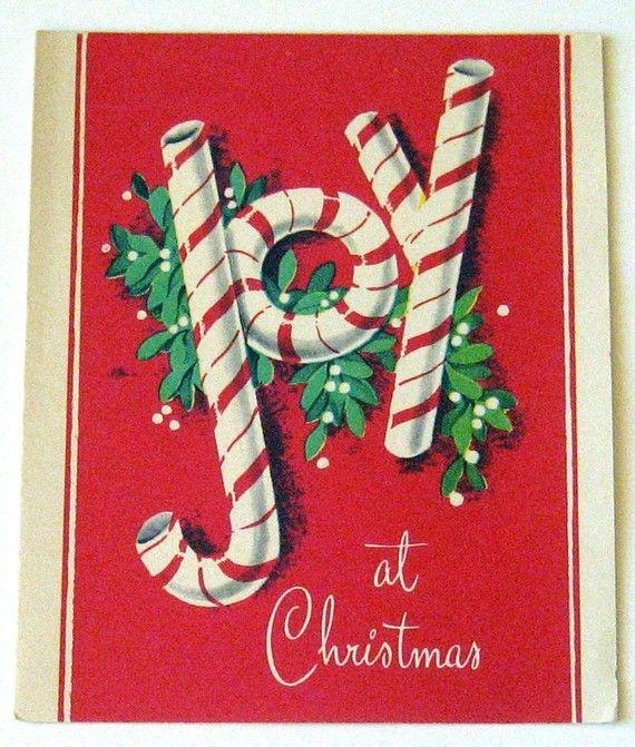 """Vintage Christmas Card  ~ """"Joy At Christmas"""""""