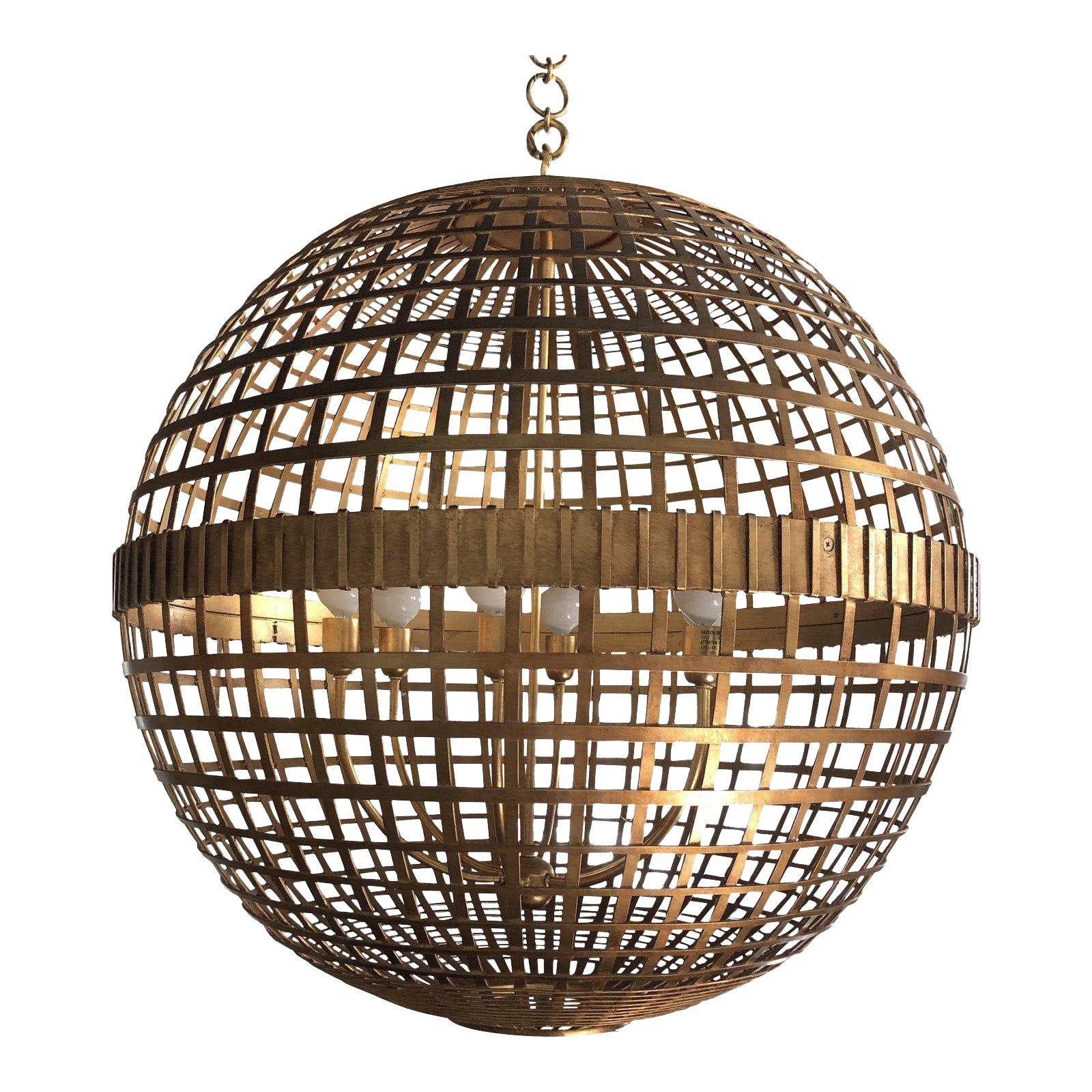 Art Deco Aerin Lauder Gold Globe Circa Lighting Chandelier In 2020
