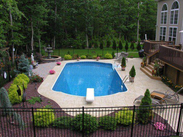 Geometric Style Inground Pools Pool Town Backyard Pool Landscaping Inground Pool Landscaping Pool Landscaping