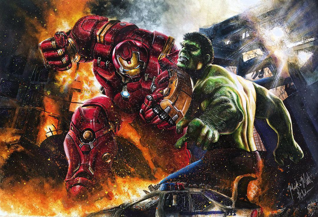 #Hulk #Fan #Art. (Hulk Vs Hulkbuster Iron Man Avengers Age Of Ultron) By:Twynsunz. ÅWESOMENESS!!!™ ÅÅÅ+