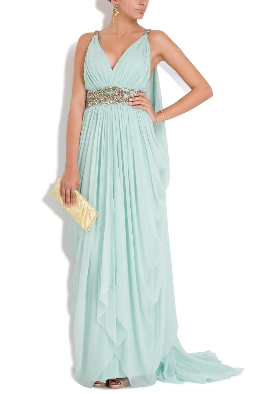 Women\'s Blue Chiffon Plunge Emb Det Gown   Vestiditos, Vestidos de ...