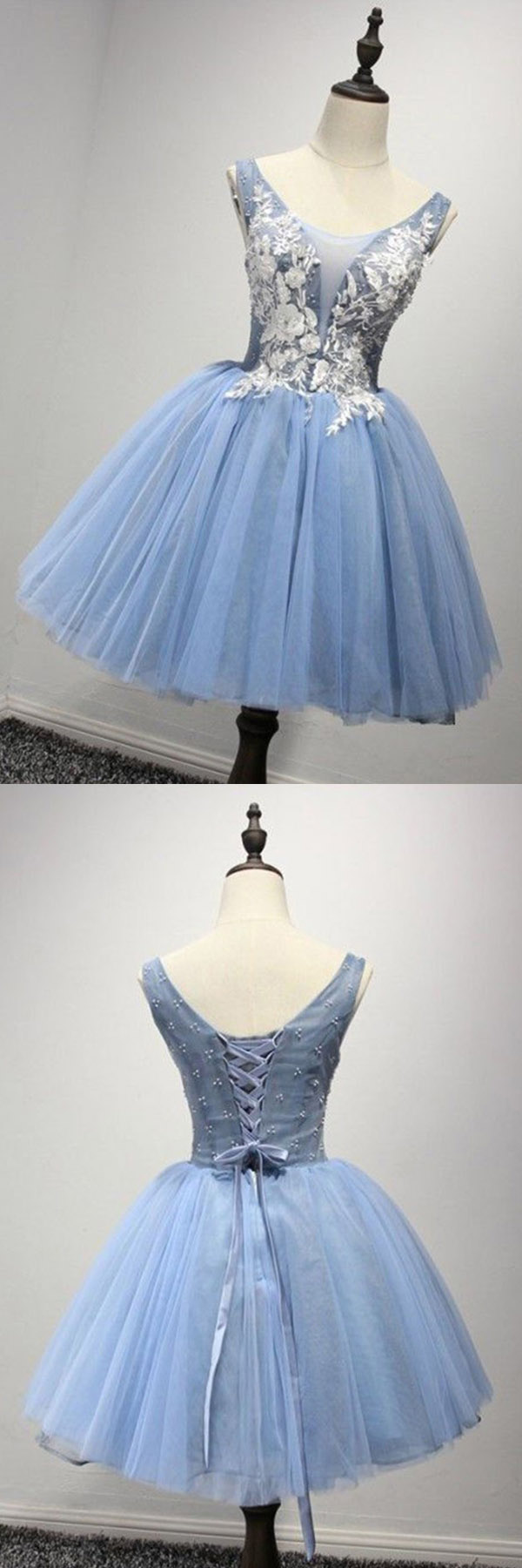 Scoop short blue tulle homecoming dress party dresses with appliques