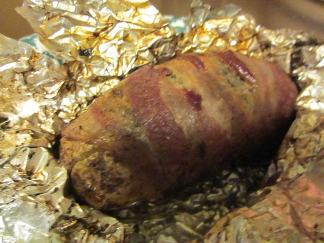 Now...That's a baked tater!  Season the skins and wrap in bacon.  Oh, yeah.