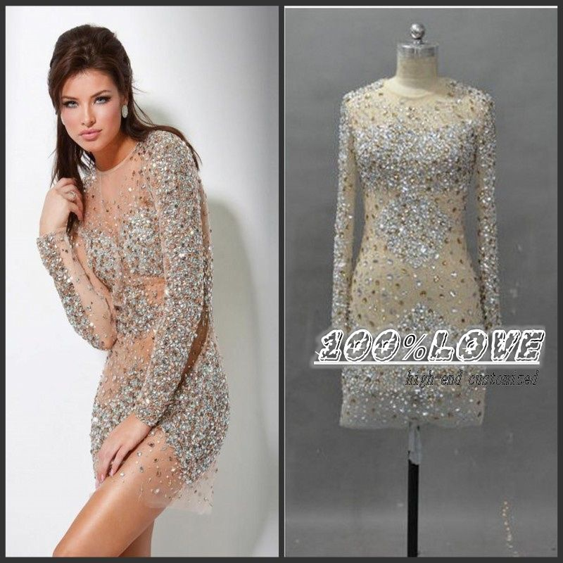 c45b28b1a4528 Free Shipping Nude Long Sleeve Crystal Short Sexy See Through Tulle ...