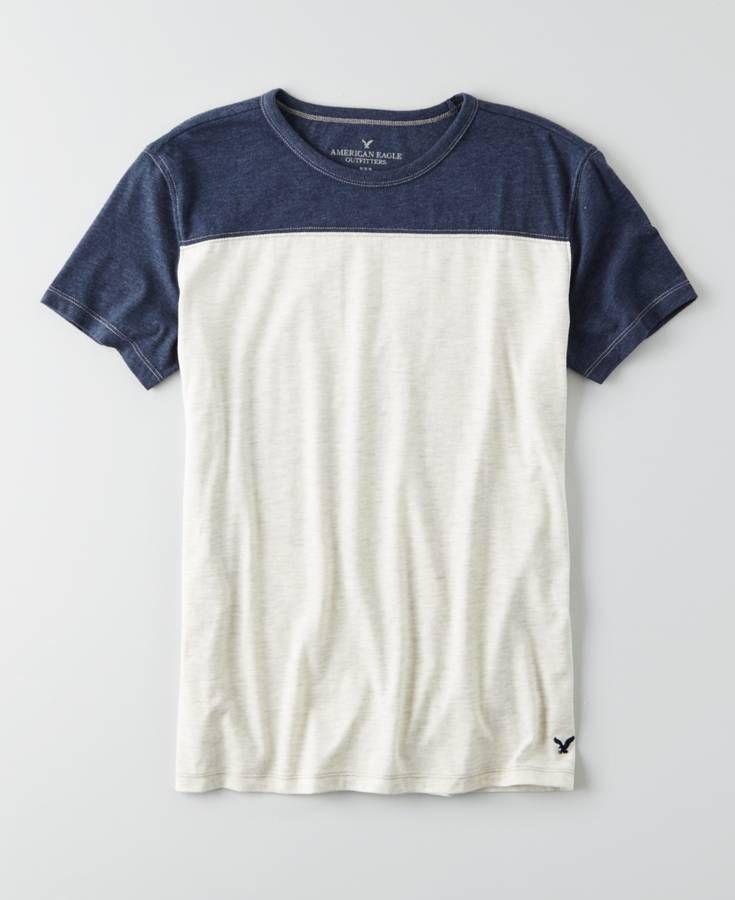 American Eagle Colorblock Football T-Shirt 4974e54037a