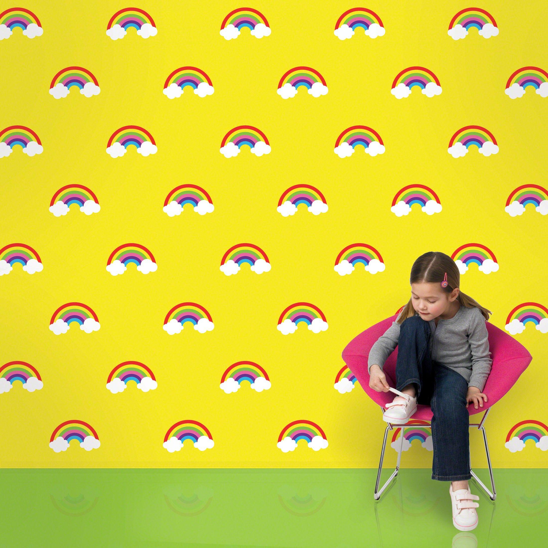 Rainbow Yellow Wallpaper Peel N Stick Kids Room Wallpaper Removable Wallpaper Kids Wall Decals