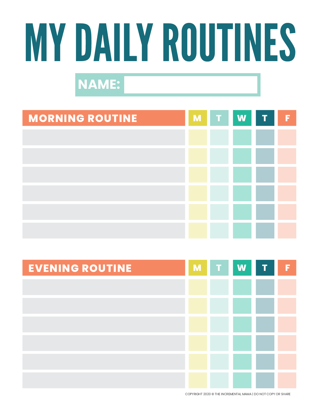 Kid S Daily Routine Chart Template