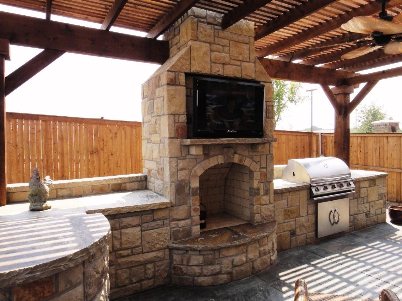 Outdoor Kitchen With Fireplace Refinish Cabinets Cost Fireplaces In Dallas Frisco