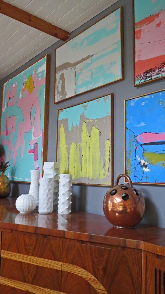Modern Walnut Living Room Furniture: Vintage Walnut Sideboard & Paintings