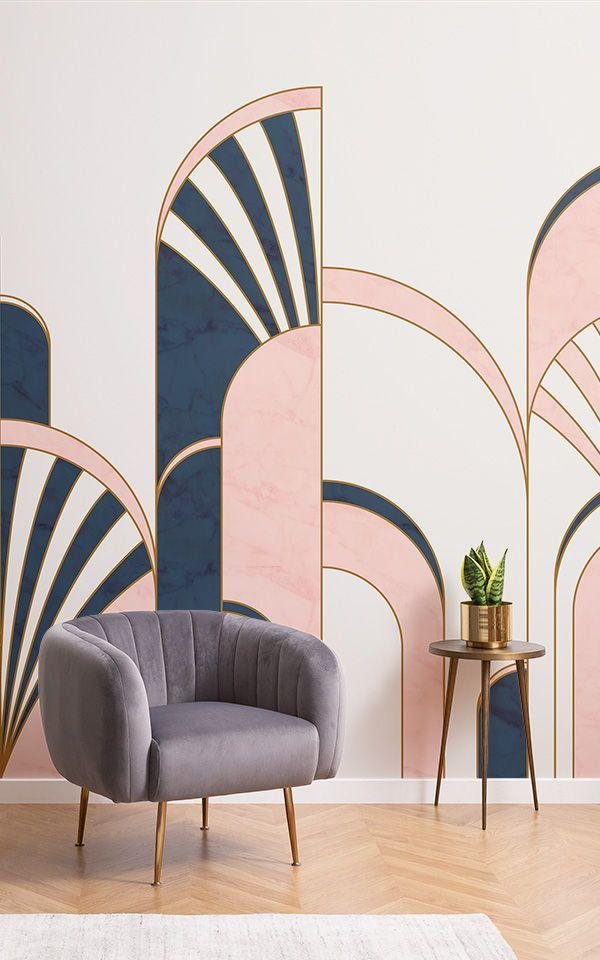 Blue & Pink Art Deco Print Wallpaper | MuralsWallpaper
