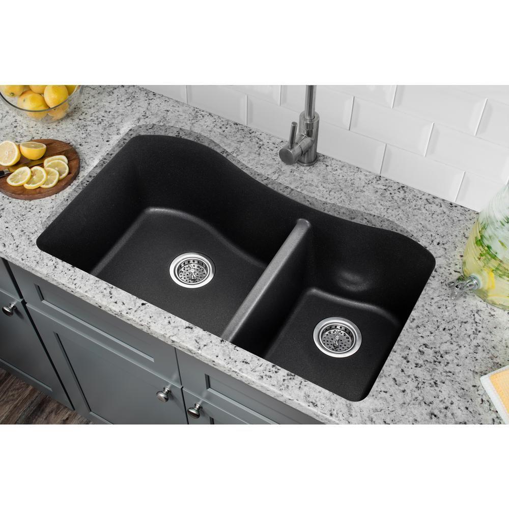 Ipt Sink Company Undermount Quartz Composite 32 1 2 In Kitchen Sink In Onyx Black Iptgr33206040blk The Home Depot In 2021 Double Bowl Kitchen Sink Sink Double Bowl Undermount Kitchen Sink