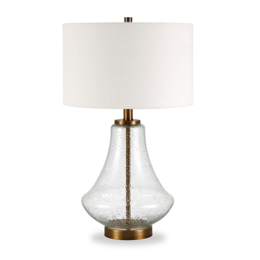 Hudson Canal Lagos 23 In Table Lamp In Brushed Brass And Seeded Glass With Flax Shade Lamp Table Lamp Seeded Glass
