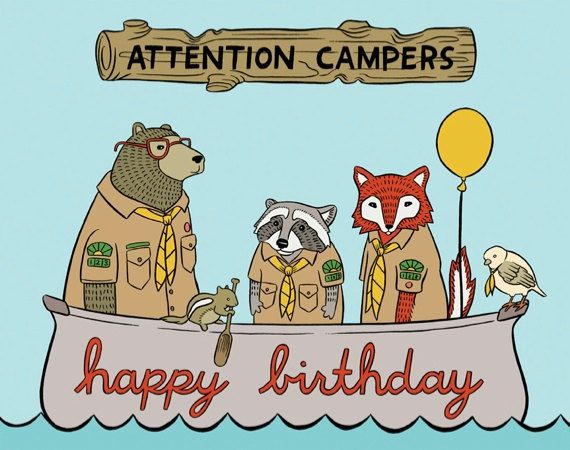 Attention Campers Birthday Card Hand Illustration Item 802 Art