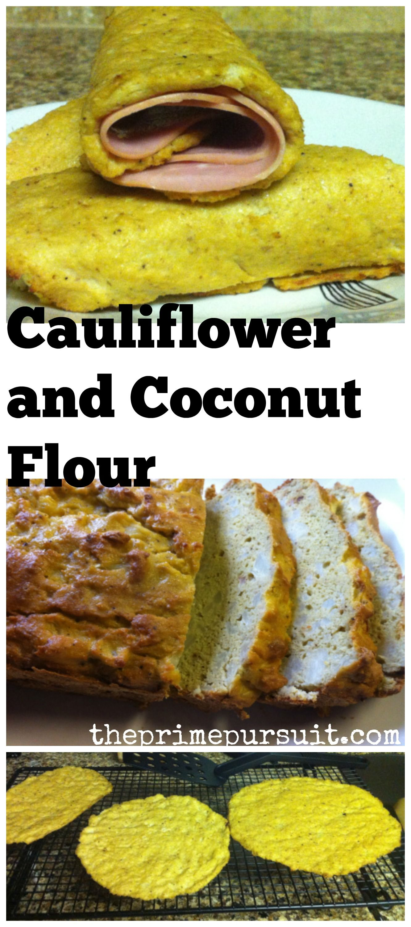 Cauliflower + Coconut flour to make bread and wraps ...