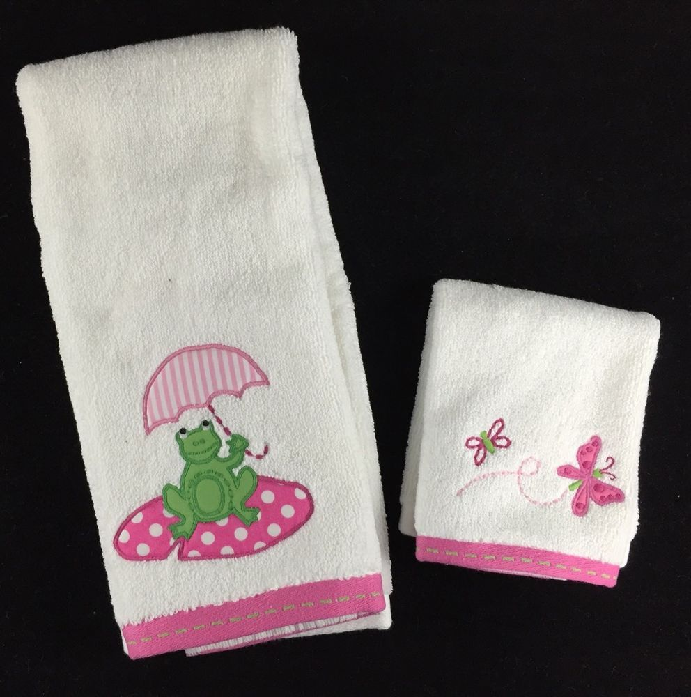 Pottery Barn Kids Taylor Hand Towel Washcloth Set New Pink