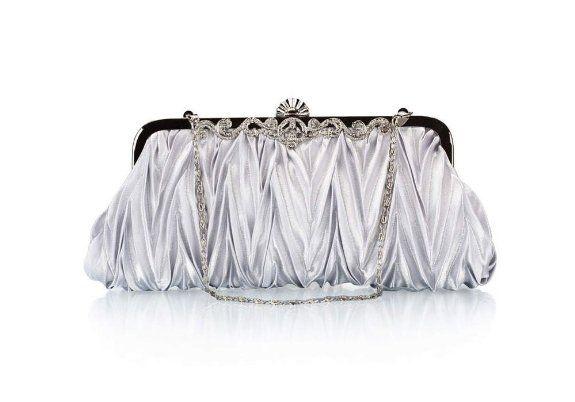 Bundle Monster Womens Vintage Satin Cocktail Party Handbag w/Shoulder Chain-SILVER: Shoes