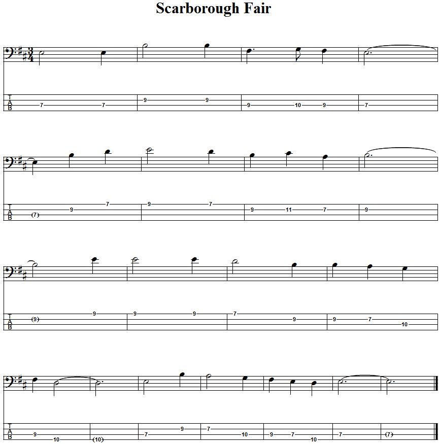 Lyric scarborough fair lyrics and sheet music : Scarborough Fair Bass Guitar Tab | Basa - tabulatury,tablature,tab ...