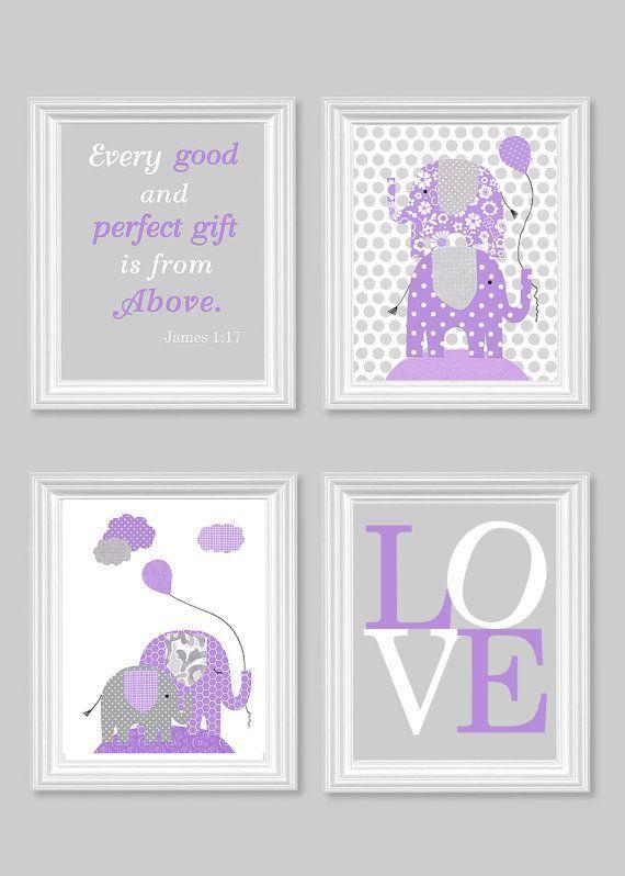 Elephant Nursery Art Grey And Purple Baby Girl Room
