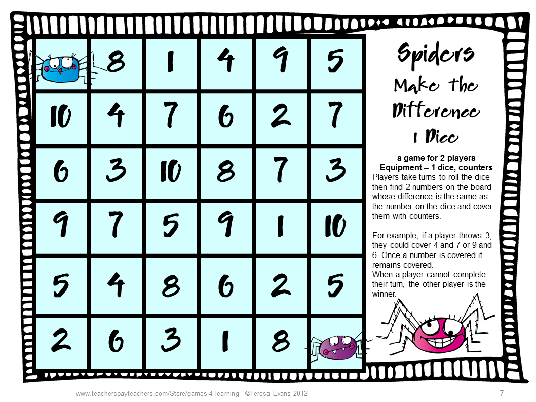 Spider Activities: Spiders Math Games: Addition and Subtraction ...