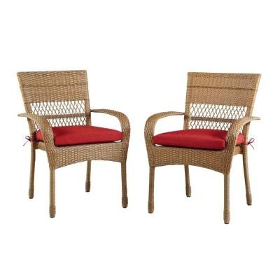 Martha Stewart Living Charlottetown Natural All Weather Wicker Patio Dining  Chair With Quarry Red Cushion
