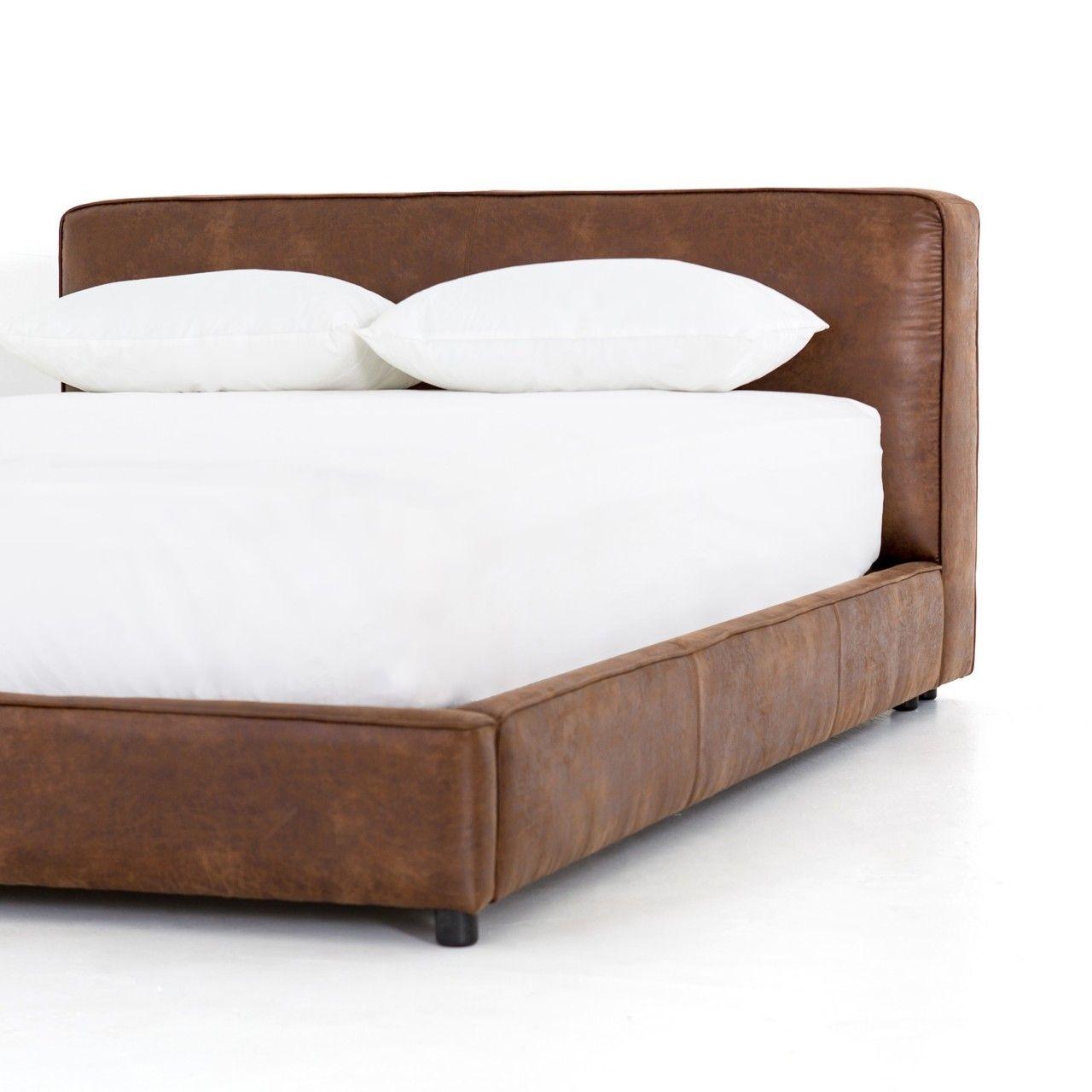 Aidan Low Profile Leather King Platform Bed Frame In 2020 King Platform Bed Frame King Platform Bed Leather Platform Bed