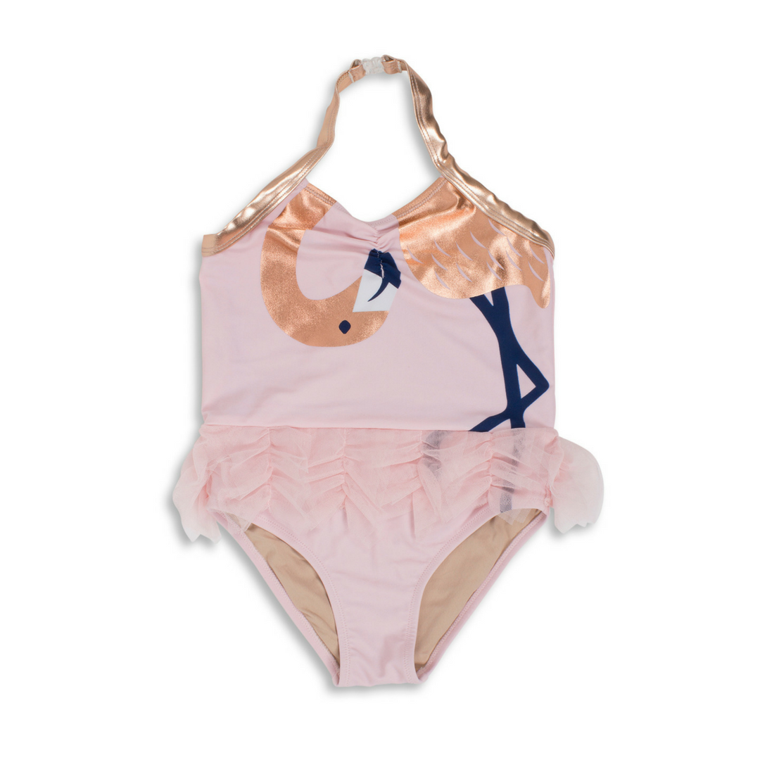 e7f4bd793 A swimsuit that's tu-tu cute! Your little ballerina is sure to turn heads  in this UV-blocking flamingo swimsuit with attached tutu and rose gold  accents.