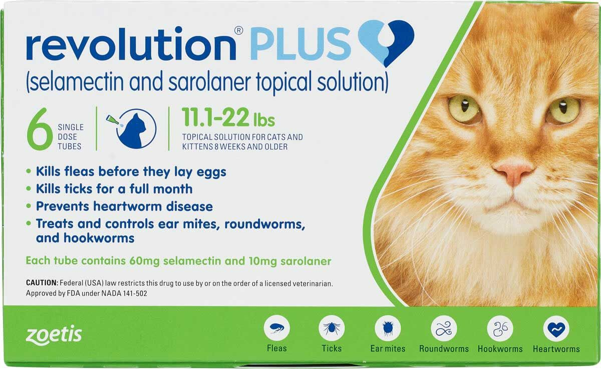 Revolution Plus For Cats 11 1 22 Lbs 6 Ct In 2020 Pet Health Topical Medication Revolution