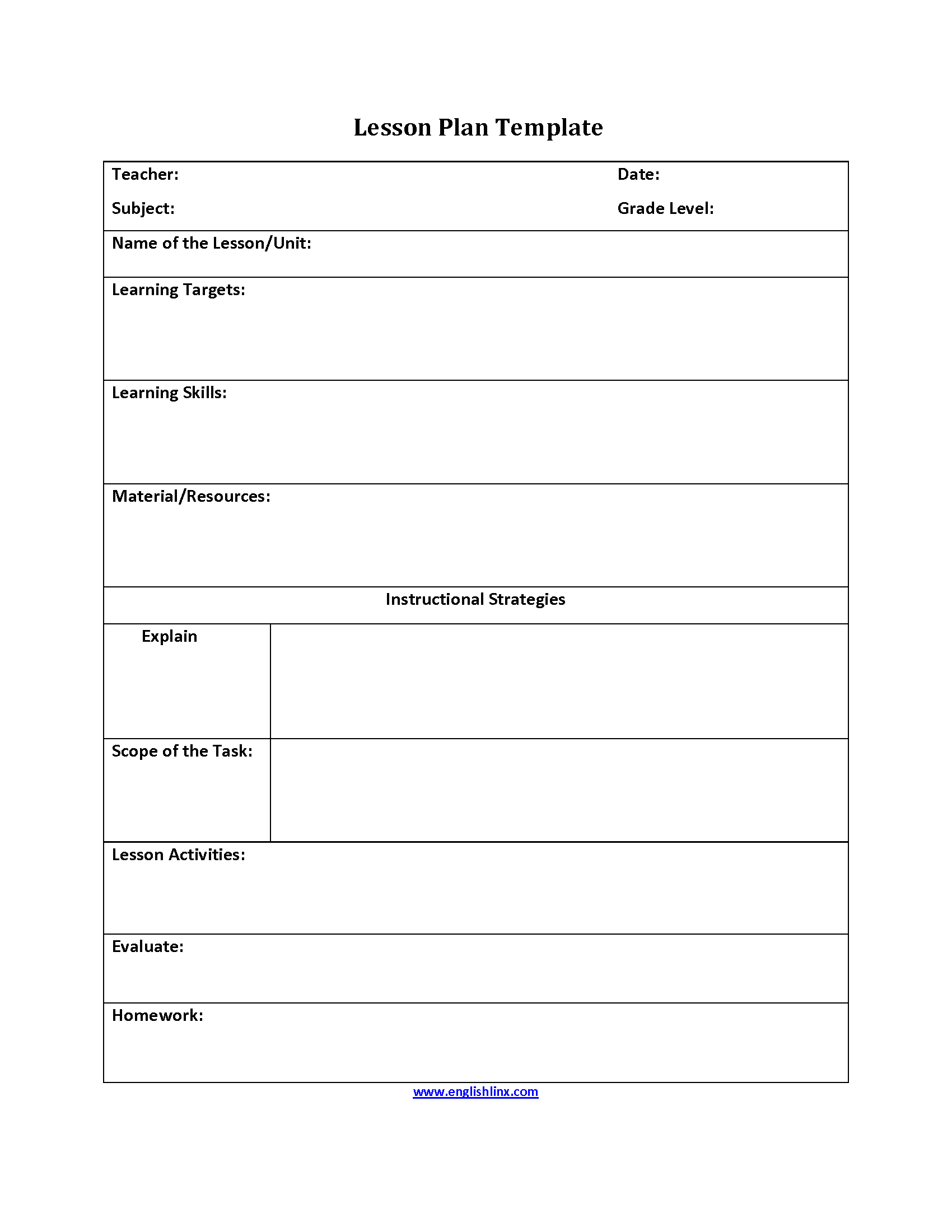 Instructional Strategies Lesson Plan Template