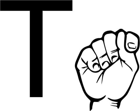 Asl Sign Language Letter T Coloring Page From Asl Alphabet
