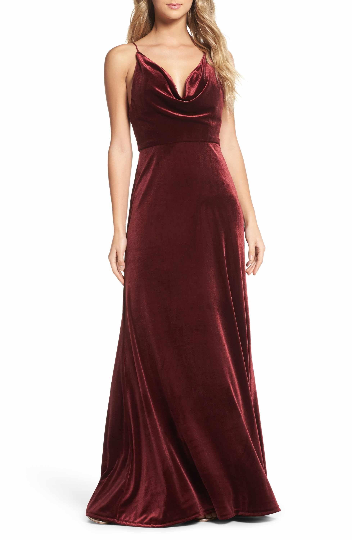 Main image jenny yoo sullivan velvet cowl neck gown formal in