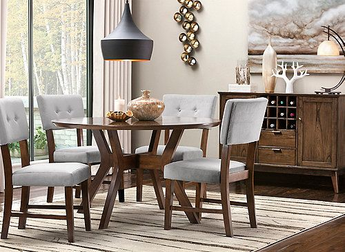 Pryce 5 Pc Dining Set Round Dining Room Table Grey Dining
