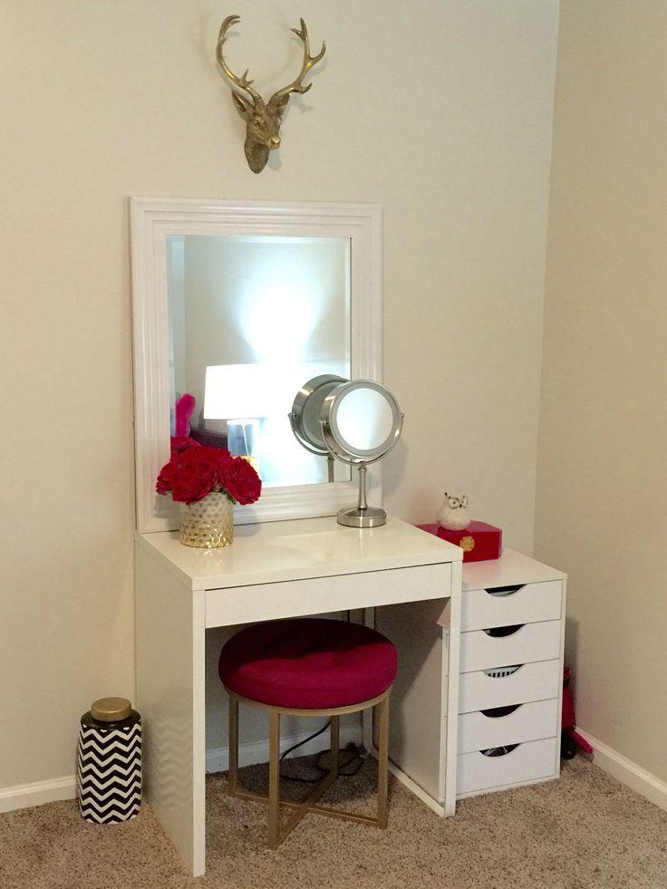 Makeup Vanity Ikea Micke Desk Target Threshold Pink Ottoman Vanity Decor Makeup Room Decor Ikea Makeup Vanity