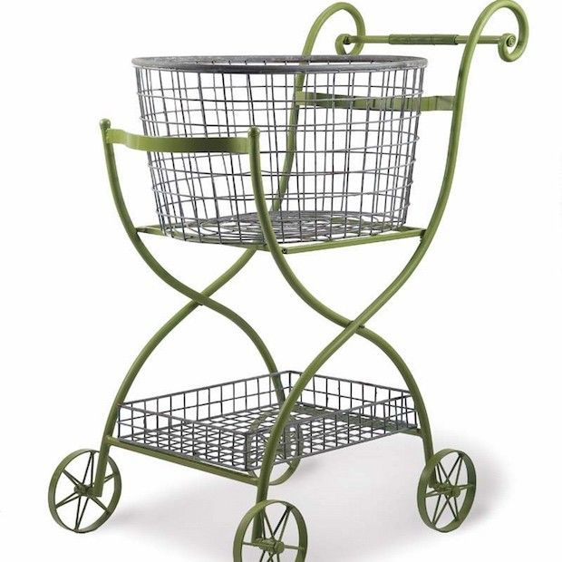 Green Metal Rolling Shopping Cart Laundry Cart Decor Rolling