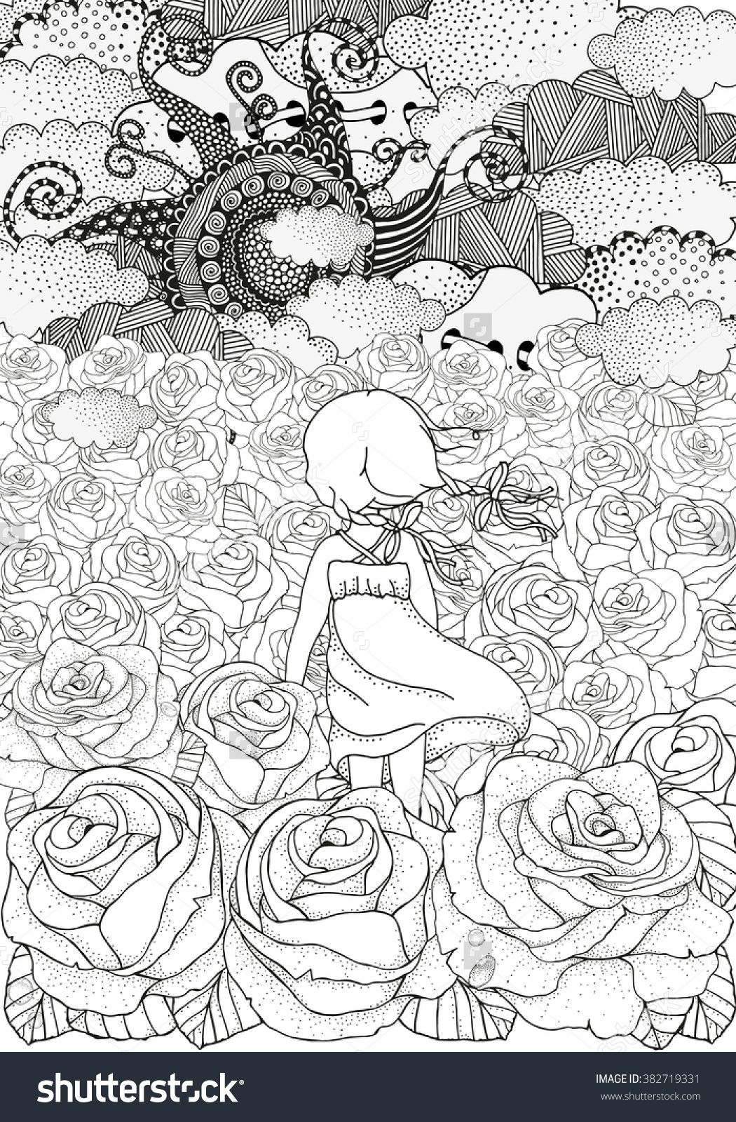 Little Girl Alone Many Roses Black And White Abstract Fantasy